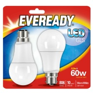 Eveready LED GLS Bulbs B22 60W 2pk