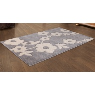 Carved Silver Blossom Flower Rug 110 x 160cm