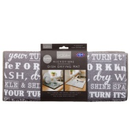 Microfibre Printed Dish Drying Mat - Grey Text