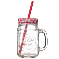 Glass Jar Cup with Handle & Straw