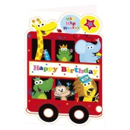Animal Bus Birthday Card