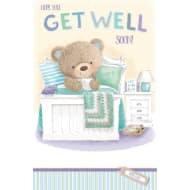 Get Well Soon - Bobby Bear in Bed - Greeting Card