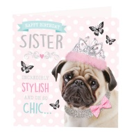 Sister Pug Birthday Card