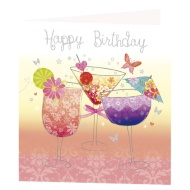 Cocktail Glasses Birthday Card