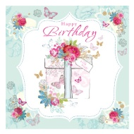 Flowers & Butterflies Birthday Card
