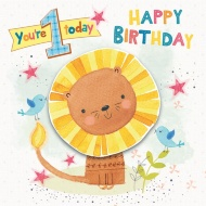 You're 1 Today - Cute Lion Birthday Card