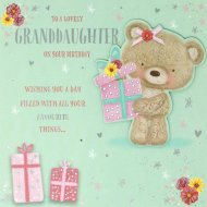 """BN TEDDY//FLOWERS//BUTTERFLY GREETINGS CARD BIRTHDAY /""""FOR A LOVELY AUNTIE/"""""""