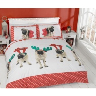 Christmas Double Duvet Cover - Pugs & Kisses