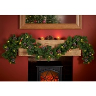 Pre-lit Garland with Cones & Berries 6ft