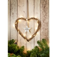 Wicker Heart with Hanging Text Star