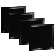 Leatherette Coasters 4pk - Black