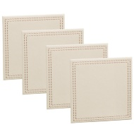 Leatherette Coasters 4pk - Cream