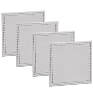 Leatherette Coasters 4pk - Soft Grey