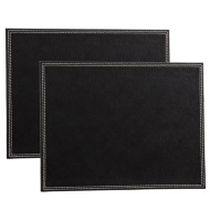Leatherette Place Mats 2pk - Black