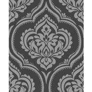 Fine Decor Sparkle Glitz Damask Wallpaper - Black