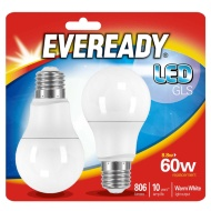 Eveready LED GLS Bulbs E27 60W 2pk