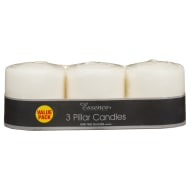 Essence Pillar Candles 3pk - Cream