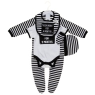 Been Inside For 9 Months Baby Clothing Set 5pc - Black & White