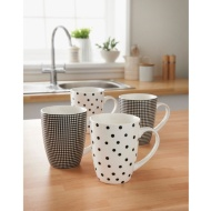 Patterned Mugs 4pk - Black & White Print