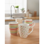 Patterned Mugs 4pk - Bright Spots & Stripes