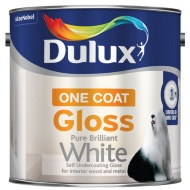 Dulux One Coat Gloss Paint - Pure Brilliant White 2.5L