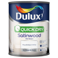Dulux Quick Dry Satinwood Paint - Pure Brilliant White 750ml