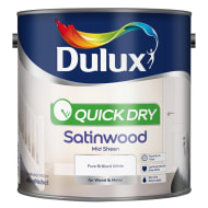 Dulux Quick Dry Satinwood Paint - Pure Brilliant White 2.5L