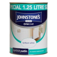 Johnstone's One Coat Satinwood Paint - Brilliant White 1.25L