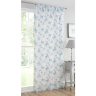 Butterfly Flock Voile Curtain 140 x 222cm - Duck Egg