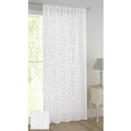 Floral Flock Voile Curtain 140 x 222cm - Rose