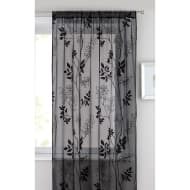 Heather Floral Flocked Voile Curtain 140 x 222cm - Black