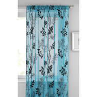 Heather Floral Flocked Voile Curtain 140 x 222cm - Teal