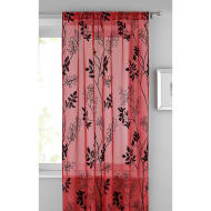 Heather Floral Flocked Voile Curtain 140 x 222cm - Red