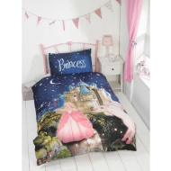 Kids Glow in the Dark Single Duvet Set - Princess Fairytale