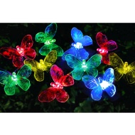 24 Solar LED Butterfly String Lights - Multicolour