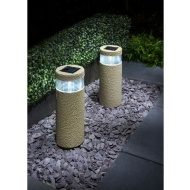 Stone Effect Bollard Solar Lights 2pk