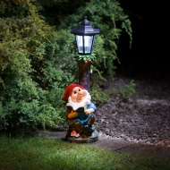Garden Gnome with Solar Powered Lamp Post