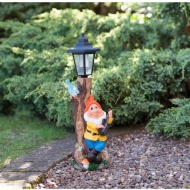 Garden Gnome with Solar Lamp Post - Orange