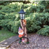 Garden Gnome with Solar Lamp Post - Purple