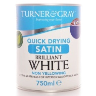 Turner & Gray Quick Drying Satin - Brilliant White 750ml