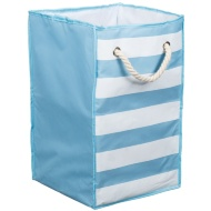 Foldable Square Laundry Bag - Blue & White Stripe