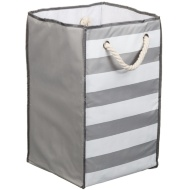 Foldable Square Laundry Bag - Grey & White Stripe