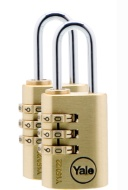 Yale Combination Padlock 2pk - Brass