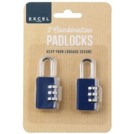 Luggage Combination Padlocks 2pk - Navy