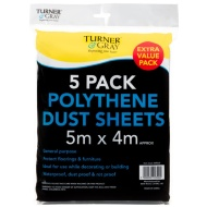 Turner & Gray Dust Sheets 5m x 4m Roll 5pk