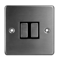 2 Gang 2 Way Light Switch - Stainless Steel