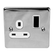 1 Gang Wall Socket - Chrome 13 Amp