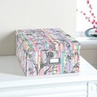 Floral Paper Storage Box Large - Stripe