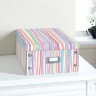 Bright Paper Storage Box Large - Pastel Stripe