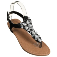 Ladies Jewel Toe Post Sandals - Black